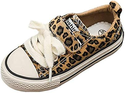 GANAYAN Toddler Kids Canvas Sneaker Boys Girls Leopard Print Slip-on Casual Shoes Loafer Flat