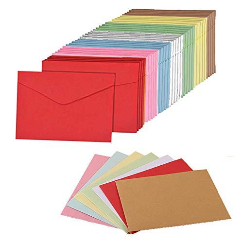Mini Sobres, 105 piezas sobres de colores, Sobres en blanco de bricolaje, 16,2 x 11,4 cm, Multicolor Sobres, para bodas, cumpleaños, fiestas, regalos y tarjetas de felicitación (7 colores)