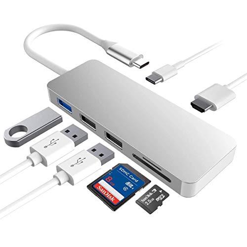 USB C ハブ 7-in-1 USB Type C ハブ ウルトラスリム USB C MacBook MacBook Pro/Air/ChromeBook/Surface GO/Pro7等対応 ドッキングステーション 4K HDMI出力 PD 充電対応 USB3.0 ハブ SD/Micro SD カードリーダー マイクロ タイプC HDMI 変換 アダプタ(シルバー)