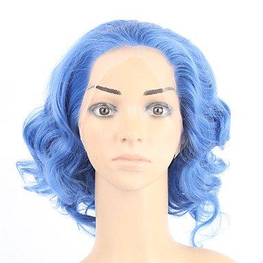 ahom (perruque Noble Hot Vendre. Body Wave Bleu Perruques cheveux synthétiques perruque Bon Marché bouclés Perruques