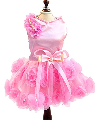 SMALLLEE_LUCKY_STORE Pet Small Dog Wedding Dress with Bowknot Birthday Party Costume Satin Rose Pearls Girl Formal Dress Cat Tutu Pink, Small Hawaii