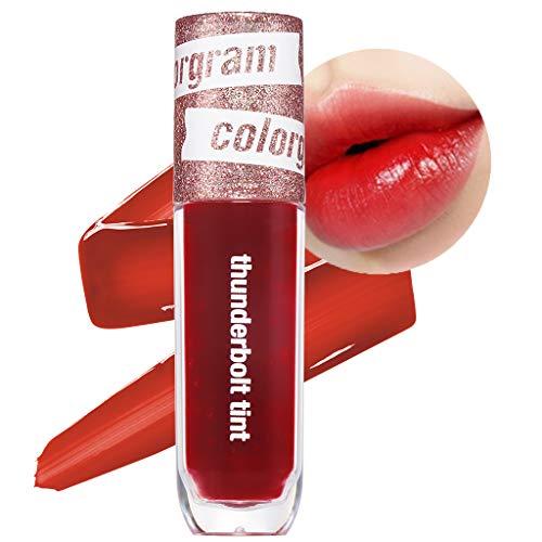 COLORGRAM Thunderbolt Tint Lacquer 4.5g - True Beauty K-Drama Makeup, Glossy Long Lasting Moisturizing Lip Stain (01 Romance Tok)