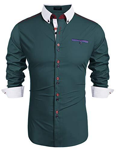 COOFANDY Herren Hemd Langarm Freizeithemd Hemden Stehkragen Regular fit Knopfleiste Hemden für Männer Grün XL