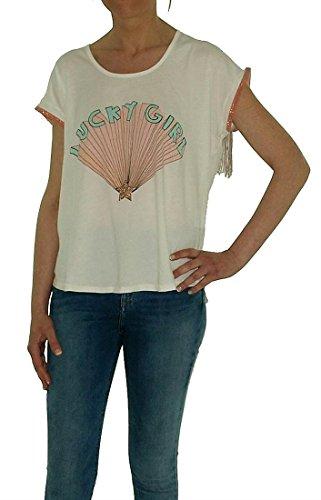 Dear Tee Lucky Girl Camiseta, Blanco (White), L para Mujer