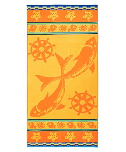 Gözze Telo mare, 100% Cotone, 90 x 180 cm, Motivo con animali marini, Giallo/Arancione, 10022-82-90180