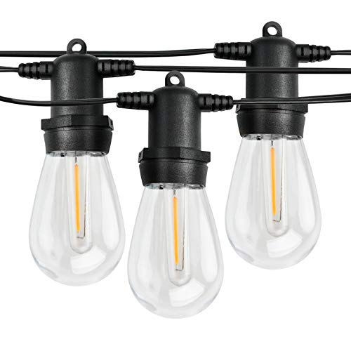 50FT Outdoor String Light,Waterproof Patio String Lights with 18+2 Plastic LED Shatterproof Clear Bulbs - Commercial Lighting Create Ambience On Your Patio Porch Backyard Party Pergola