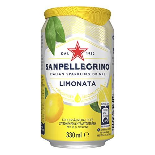 Sanpellegrino | Zitronen Limonade | Limonata | Hoher Fruchtanteil 16% frisch gepresster Zitronen | Ideal für unterwegs | 1er Pack (1 x 0,33l) Einweg Dose