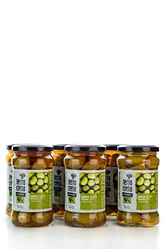 6x griechische grüne Oliven im Glas a 160g gesamt 960 g Abtropfgewicht terra creta green olives olive aus Griechenland + Probiersachet 10 ml Olivenöl aus Kreta