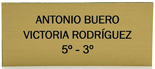 Placas Buzón de plástico Dorado Mate y Grabado Negro. Cinta autoadhesiva. Grosor 1,5mm y tamaño máximo 100x40mm