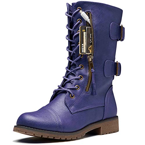 DailyShoes Ankle Military Boots Women Women's Combat Booties Ankle Mid Calf Zip Pocket Buckled Bootie Fall Fashion Plus Cashmere Half Knee High Exclusive Credit Card Boots Purple,pu,11