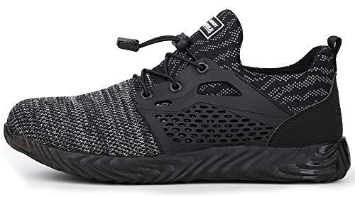 tqgold Chaussures de sécurité pour hommes / femmes, bout en acier, baskets légères, respirantes, pour randonnée, marche, sport - - Gris 830., 36 1/3 EU