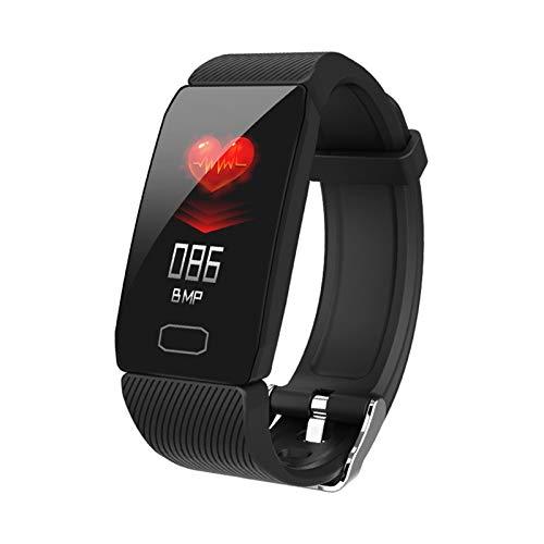 LYB 1.14 Smart Band Pantalla meteorológica Presión arterial Monitor de ritmo cardíaco Fitness Reloj inteligente Pulsera impermeable Hombres Mujeres Niños (Color: Negro)
