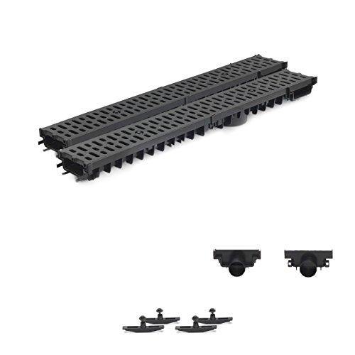 2m Entwässerungsrinne Terrassenrinne Stegrost Kunststoff komplett SET, System A15 70mm, Schwarz Classic, NEUHEIT Rinne mit integrierter Dichtung Klick System