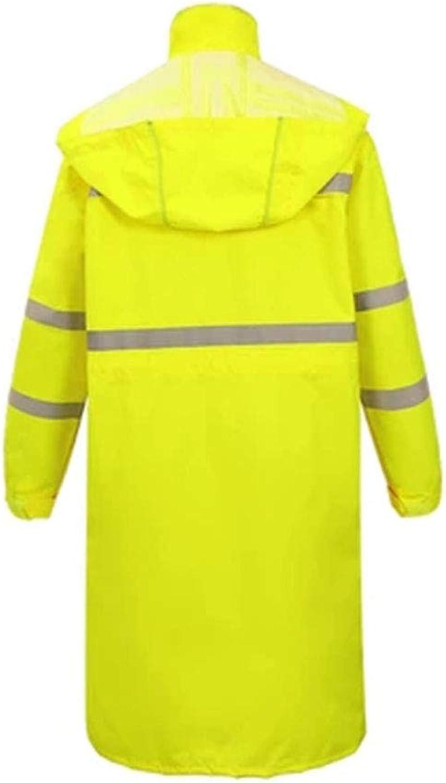 LIYONG Rain Poncho, Raincoat Yellow black Long Reflective Raincoat Outdoor Waterproof Pons Can Be Reused