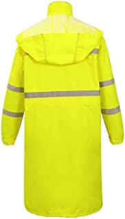 Qivor Waterproof clothing Long Reflective Raincoat Outdoor Waterproof Poncho (yellow/black/) Men's snow raincoat (Color : ...
