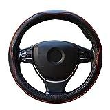 ZATOOTO ハンドルカバー 軽自動車 Sサイズ 本革 高級感 手触りよし 厚め クラウン フィット BMWなど用ステアリングカバー レッド LY98-HH