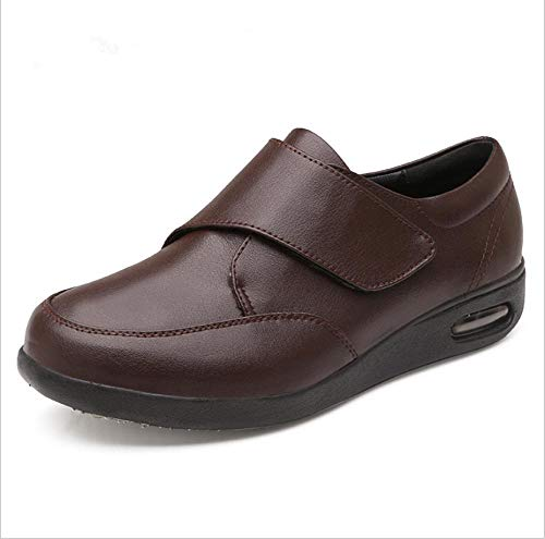 B/H HombreSandaliasDiabéticas,Calzadoajustabledepielvieja,calzadoparapiediabético-47_Brown,UnisexPuntaAbiertaAnchoAjustable
