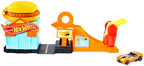 Hot Wheels- City, Playset Morsa dell'Hamburger con Macchinina Giocattolo per Bambini 4+ Anni, GJK73