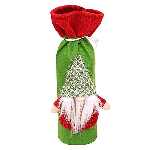 SODIAL Cubierta de la Botella de Vino del SuéTer de Navidad, Bolsas de Botella de Vino Reutilizables para la DecoracióN del Hogar de la Mesa de Navidad de la Fiesta de DíAs Festivos, A