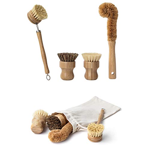 Earth's Own Natural Bamboo Dish Scrub Brush 4 Piece Set - Made From 100% Natural Bamboo -Natural Bristle - Plastic Free Dishes Scrub Brush For Dishes, Pot, Pans.