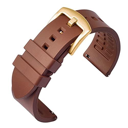 FETTR Correa de reloj de 19 mm, 20 mm, 21 mm, 22 mm, 24 mm, liberación rápida, pulsera de silicona deportiva (color marrón 03, tamaño: 22 mm)