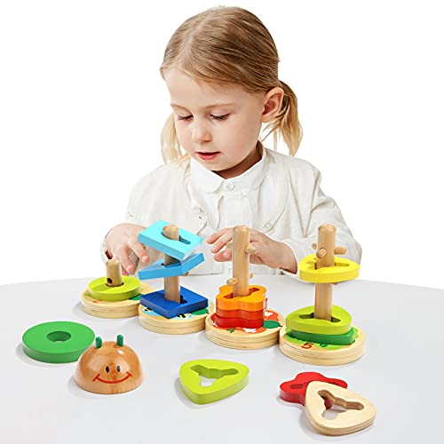 TOP BRIGHT Wooden Stacking Block...