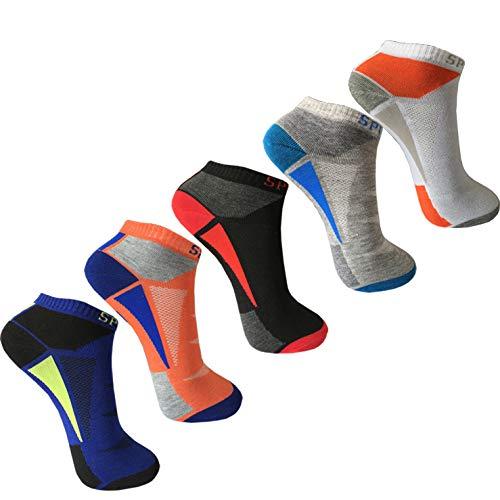 Glamexx24 12 Paar Comfort Herren & Damen Sneaker Kurz Socken Schwarz Grau Weiß Gr 35-46, Orange-grau-schwarz-weiß-blau, Gr 39-42