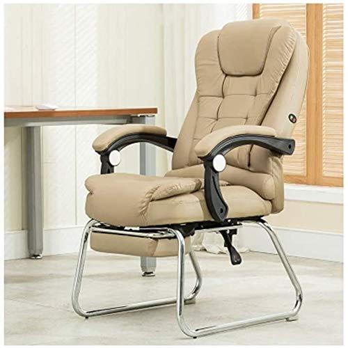 Rollsnownow Computer Stuhl Ergonomischer Executive Office Chair - High-Back Office Schreibtisch Stühle Leder Computer Stuhl Neigungswinkel verstellbar und Flip-up Arme Big Sessel (Size : Beige 1)