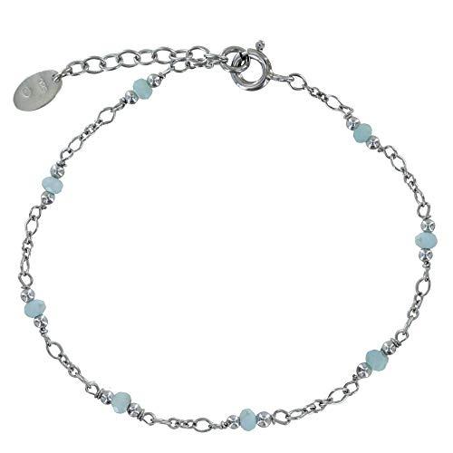 Schmuck Les Poulettes - Rhodium Silber Armband acht Kleine Larimar Facetten Perlen