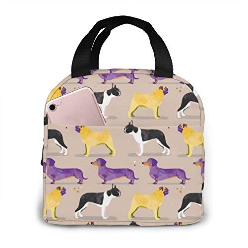 Bolsa de almuerzo para perros en el parque gris, crema, morado, amarillo, salchicha Boston Terrier, bolsa de almuerzo suave a prueba de fugas, para mujer, picnic, barco, playa, pesca, escuela, trabajo