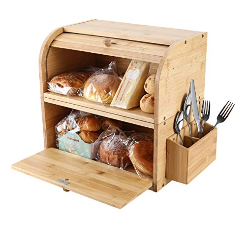TQVAI Natural Bamboo 2 Layer Bread Storage Box Roll Top Food Can Rack Organizer with Silverware Basket - Detachable Design - Can Use as 2 Individual Bread Bin - Assembly Required, Original