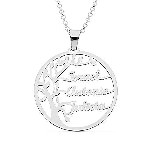 doble aro Collar Personalizado Árbol de la Vida para Mujer - Plata de Ley 925/1000 con Cadena Rolo de 42 cm + 3 cm de Alargador - Colgante Personalizado con Hasta 6 Nombres