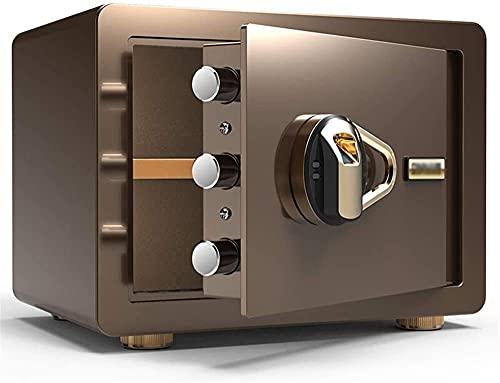 ZXNRTU - Cassetta di sicurezza per casa, elettronica, digitale, impronta digitale biometrica, in acciaio, per ufficio, hotel, gioielli, contanti, 35 x 25 x 25 cm, nero, marrone, oro (colore : marrone)