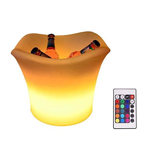 Dongbin Secchiello per Il Ghiaccio a LED Secchiello per Il Cambio di Colore Secchiello con Telecomando Secchiello per Champagne Raffreddatore per Bottiglie Rotonde Secchiello per Vin brulé Bar