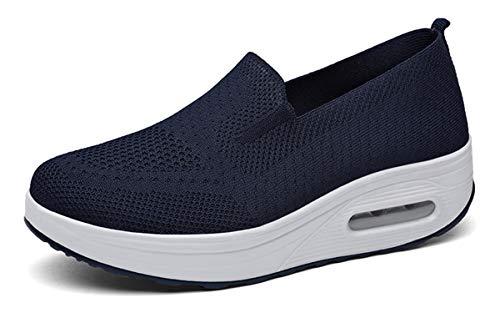 Zapatillas cuña Mujer Zapatos Deporte Gimnasio Zapatillas de Running Ligero Sneakers Cómodos Fitness Zapatos de Trabajo, Azul, 41 EU