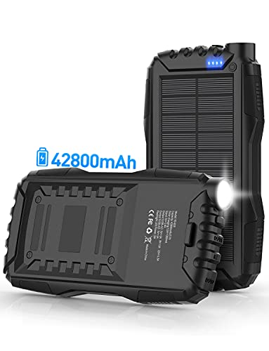 Solar Power Bank,Solar Charger,42800mAh Power Bank,Portable Charger,External Battery Pack 5V3.1A Qc 3.0 Fast Charging Built-in Super Bright Flashlight(Black)