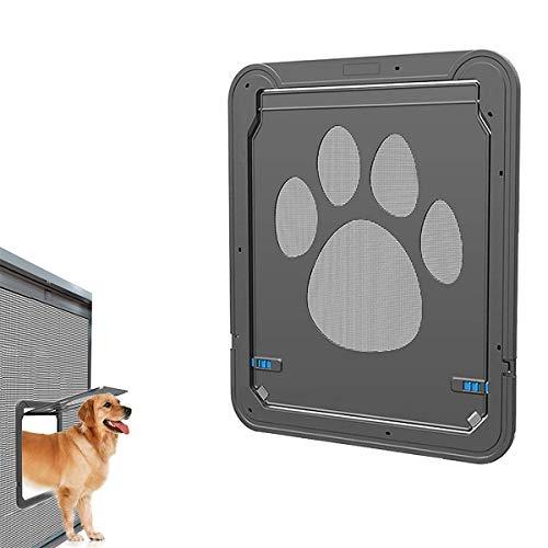 Pet Screen Door,Magnetic Flap Screen Automatic Lockable Black Door for Small/Medium Dog and Cat Gate