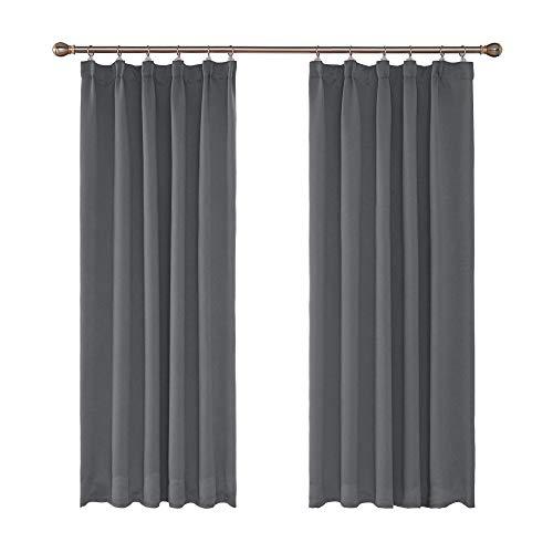 UMI. by Amazon - Cortinas Opacas Blackout para Ventana Oscuras de Salon Dormitorio Moderno Juveniles con Bolsillos 2 Piezas 140 x 240 cm Gris Claro