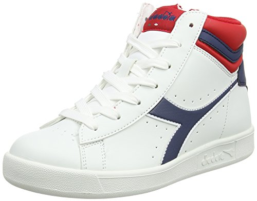 Diadora Game P High Y, Sneaker a Collo Basso Bambino, Bianco (Wht/Estate Blue/Poinsettia), 39 EU