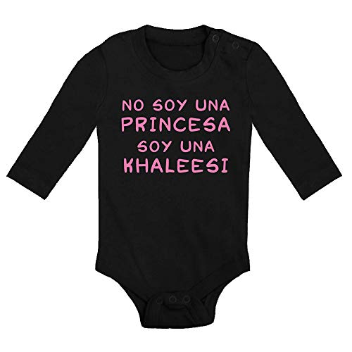 Body bebé No Soy una Princesa, Soy una Khaleesi. Juego de Tronos, Game of Thrones, Logo Comic Fan Art Parodia. Bebé Friki. Manga Larga. (Negro, 9 Meses)