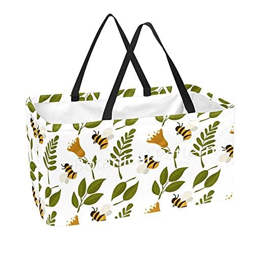 Bolsa de comestibles reutilizable grande, resistente bolsa de compras con parte inferior reforzada y asa (impresión de abejas y plantas)