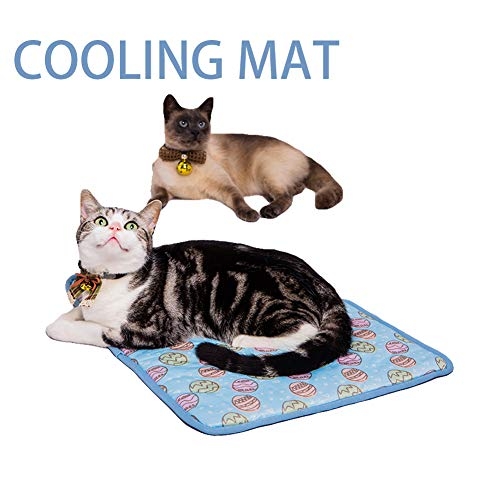 NACOCO Pet Cooling Mat Cat Dog Cushion Pad Summer Cool Down Comfortable Soft for Pets and Adults (S, Blue)