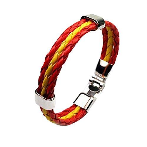 GOTTING Bandera Nacional Copa del Mundo unisex de cuero de múltiples capas pulsera trenzada de 3 filamentos de la cuerda de los brazaletes hechos a mano pulsera de mujeres de los hombres España