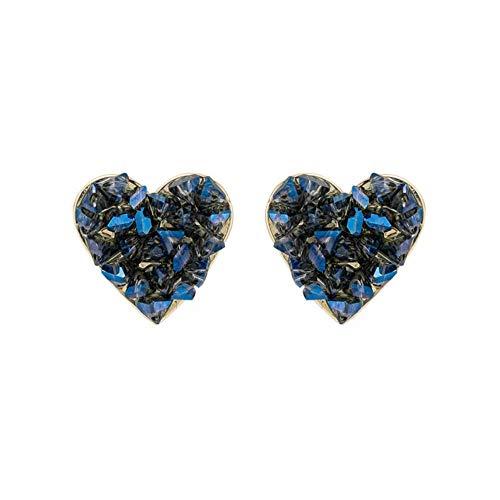 Sweet fashion shiny blue crystal Earrings elegant temperament joker Heart fine Stud Earrings Jewelry