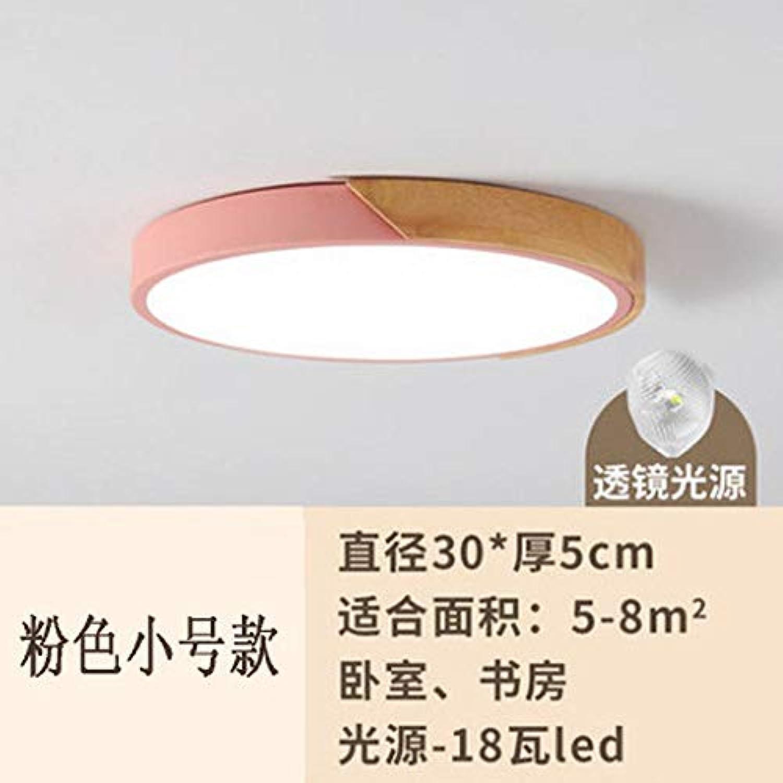 Zhouzhou666 Deckenleuchte Kinderzimmerlampe Führte Schlafzimmer Log Deckenleuchte, Pulver DREI Farbtemperatur, 30Cm 18W