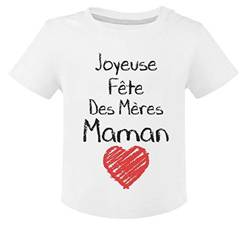 Joyeuse Fête des Mères Maman Cadeau Maman T-Shirt Bébé Unisex 12M Blanc