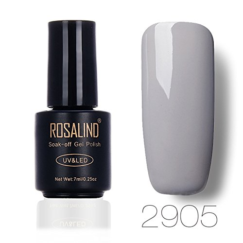 ROSLAIND Gel Nail Polish Soak Off UV LED Esmalte Manicura Pedicura salón 7 ml (gris 1)