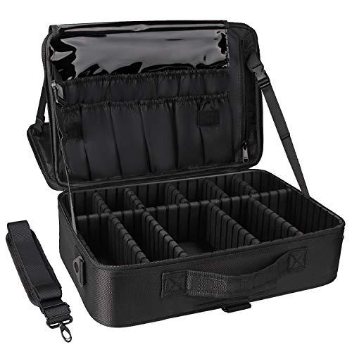 Relavel Makeup Train Case 3 Layer Large Size Professional Cosmetic Organizer Make Up Artist Box with Adjustable Shoulder (Large Black)