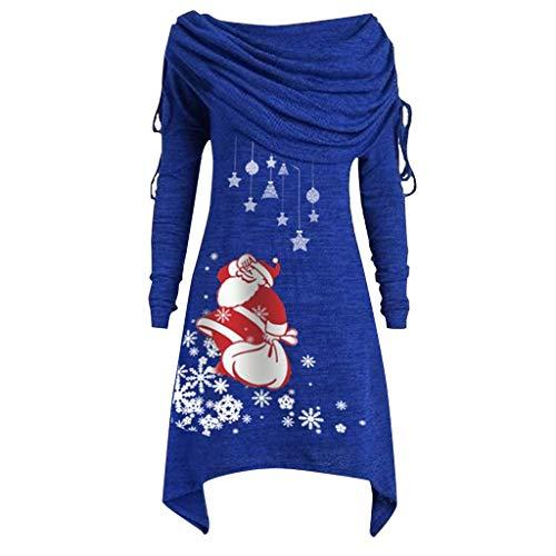 iHENGH Damen Plus Size Womens Fashion Solid Geraffte Lange Foldover Kragen Tunika Top Bluse Tops(Blau-1, S)
