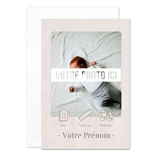 Lot de 8 Faire-Part de Naissance • Moderne • Personnalisable (Prénom, Photo, Poids, Taille) • Enveloppes Incluses • Verso Vierge pour Ecrire • 12x17 cm • Popcarte (Lin)
